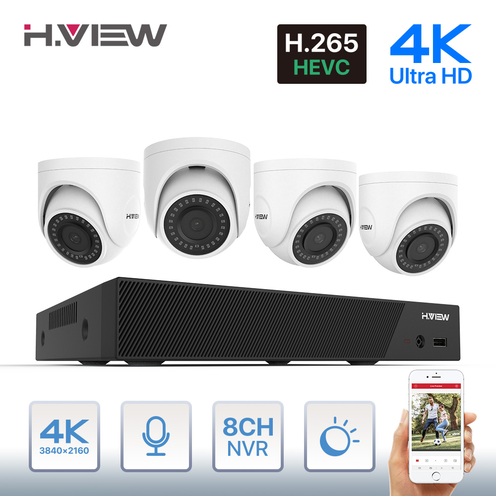 H.View 4K Ultra HD Video Surveillance Kit 8MP Poe Ip Camera Set 8CH Dome Security Camera CCTV System H.265 Audio Record Nvr