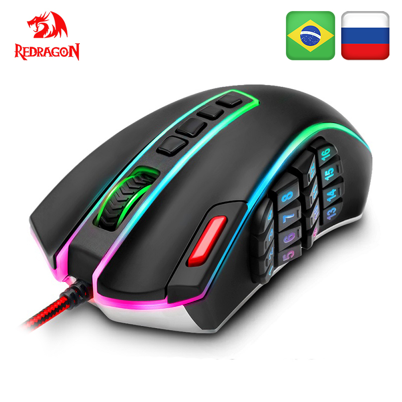 Redragon Souris De Jeu PC 16400 DPI vitesse Laser moteur 22 programmable boutons En Métal base USB Filaire pour ordinateur de Bureau souris