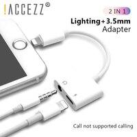 ! Accezz 2 em 1 carregador de celular  adaptador de carregamento para iphone x 7 entrada aux  adaptador de entrada de 3.5mm para iphone