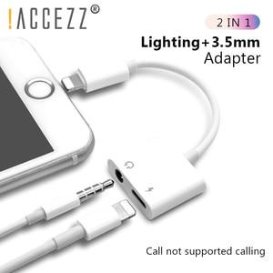 Image 1 - ! ACCEZZ 2 في 1 الإضاءة شاحن الاستماع محول ل آيفون X 7 شحن محول 3.5 مللي متر جاك AUX الفاصل conttador آيفون