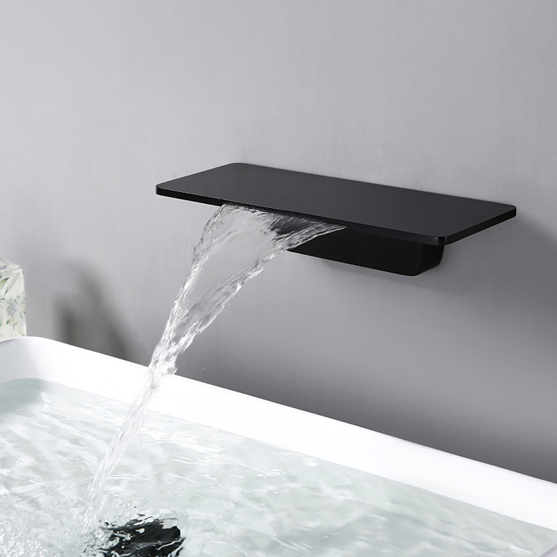 Bagnolux Matte Waterfall Bath Sink Faucet Basin Mixer Tap  Black Rectangular Brass Elegant Life Decoration Bathroom Hotel Faucet