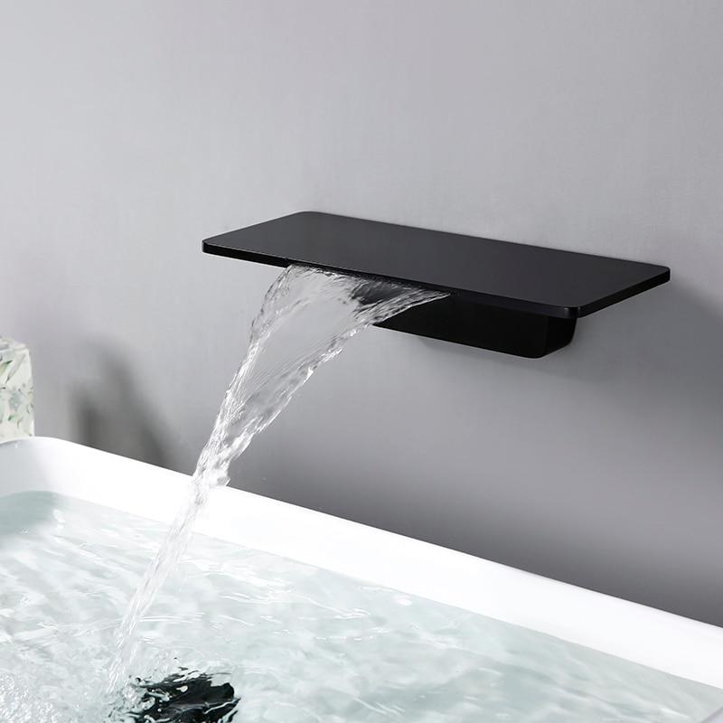 Bagnolux Matte Waterfall Bath Sink Faucet Basin Mixer Tap  Black Rectangular Brass Elegant Life Decoration Bathroom Hotel Faucet
