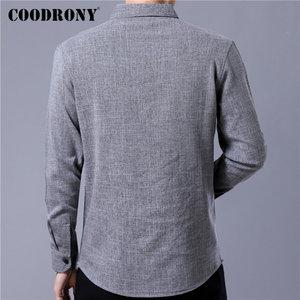 Image 3 - COODRONY ماركة الرجال قميص الأعمال قمصان غير رسمية الخريف طويلة الأكمام القطن قميص الرجال الملابس Camisa الذكور مع جيب 96093