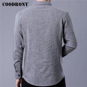 Image 3 - Coodrony 브랜드 남성 셔츠 비즈니스 캐주얼 셔츠 가을 긴 소매 면화 셔츠 남성 의류 camisa masculina 포켓 96093