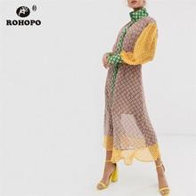 ROHOPO Double Layers White Daisy Floral Straight Midi Tee Dress Button Fly Patchaork Long Sleeve Chiffon Vestido #2378