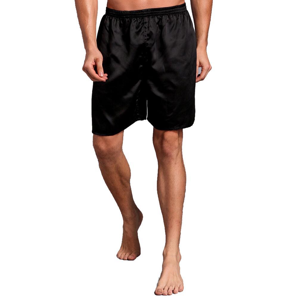 Большой размер 3XL халат для мужчин вышивка платье с драконами ночное белье мягкое атласное Lounge Ночная рубашка пижамы сексуальное свободное повседневное кимоно платье - Цвет: Black Shorts