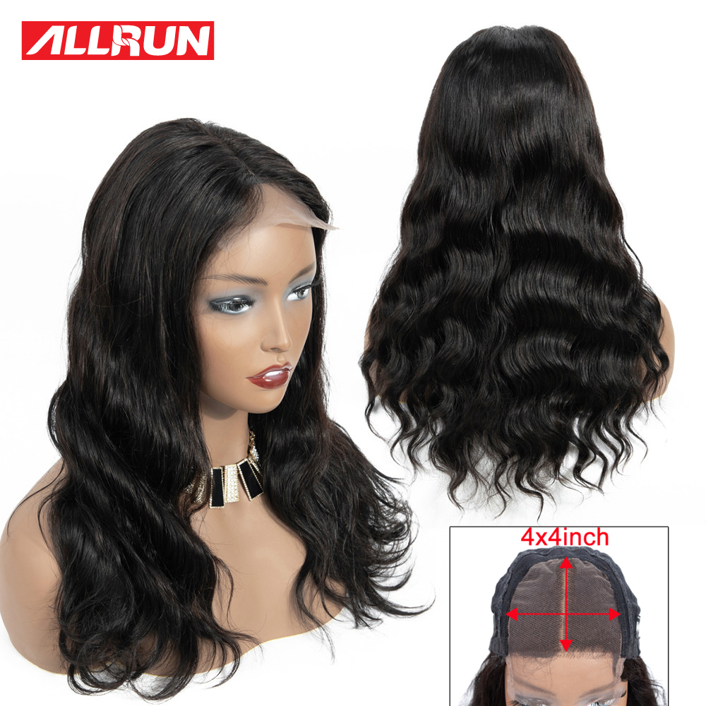 Allrun 4*4 Lace Closure Wigs With Baby Hair Brazilian Body Wave Lace Human Hair Wigs For Women Non Remy Hair Natural Hairline