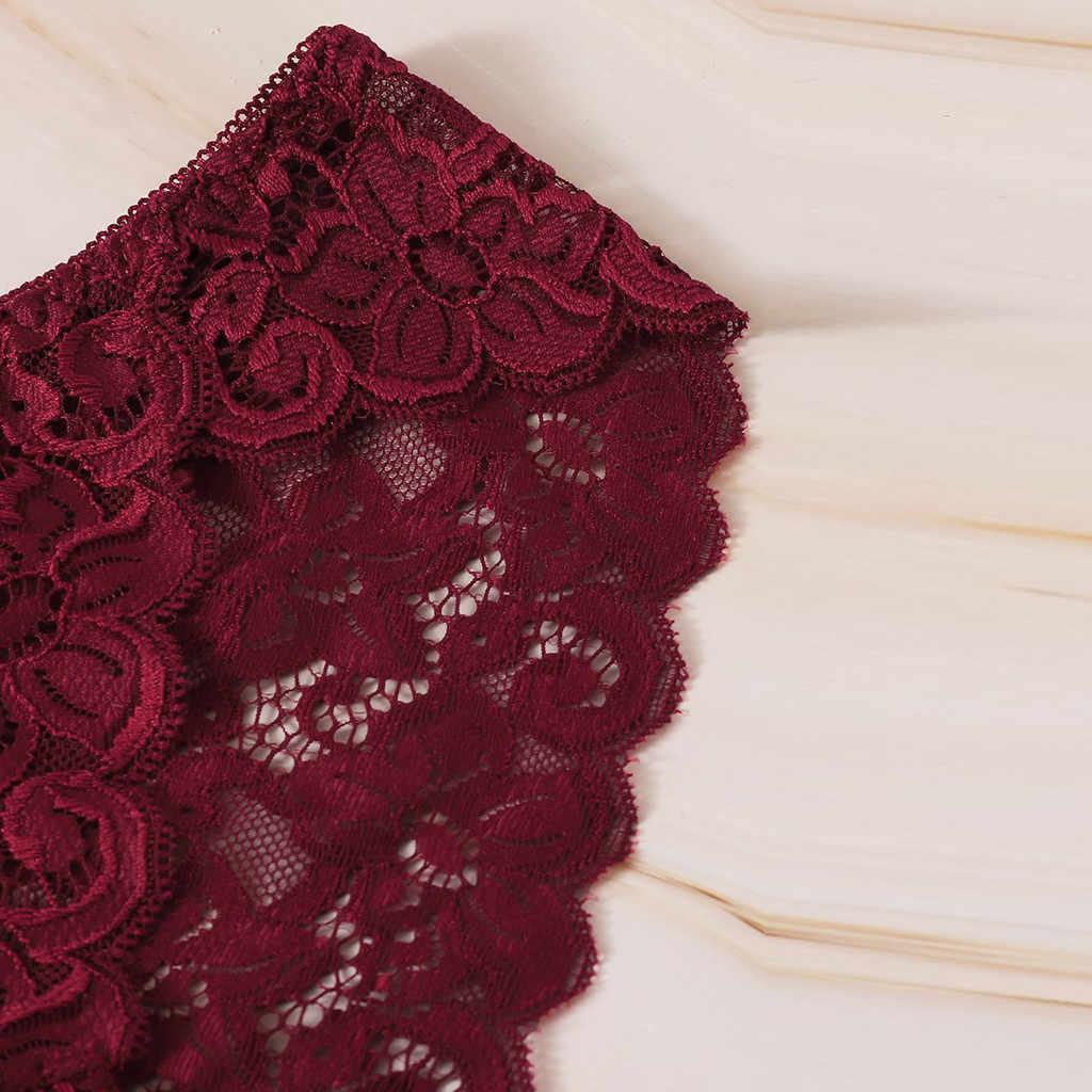 حجم كبير S/3XL سراويل النساء الدانتيل الزهور جوفاء شفافة داخلية النساء الدانتيل لينة ملخصات مثير الملابس الداخلية العشير 20JAN7