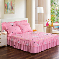3 Pcs Bed Skirt Thickening of Cotton padded 14 Colors Beding Sets with Two Pillowcases Bed Cover King Size Bed Skirt Cover
