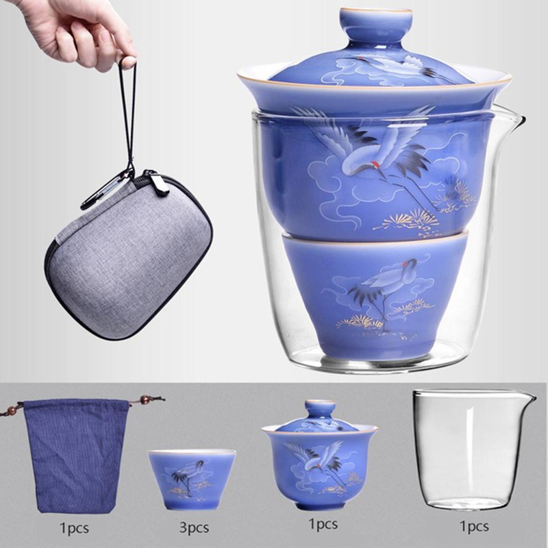 Portable Travel Home Office Gaiwan Cups Ceramic With Bag Bone China Teapot Set Set English Afternoon Tea Sets Set Free Shipping