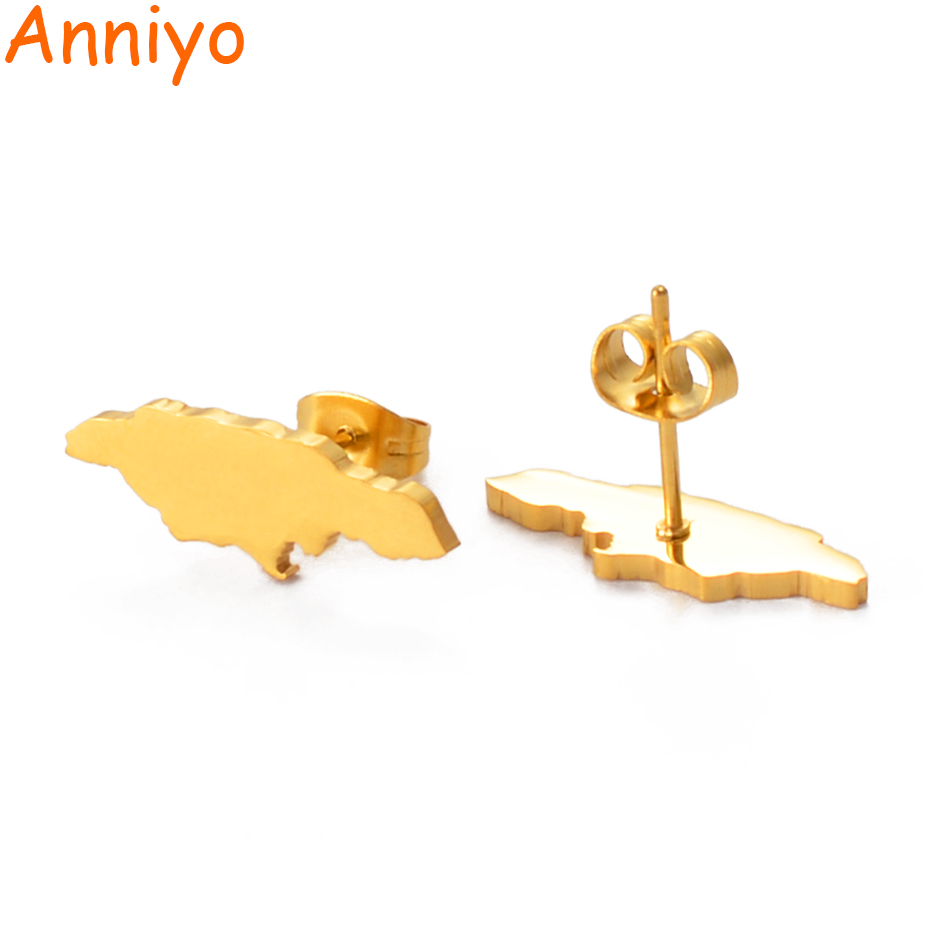 Anniyo Jamaica Map Stud Earrings For Women Girl Gold Color And Stainless Steel Jamaican Jewelry Gifts #139721