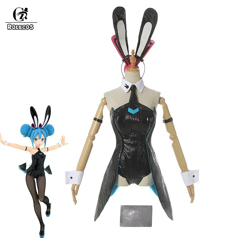 ROLECOS Vocaloid Miku Cosplay Costume Miku Bunny Girl Cosplay Sexy Jumpsuit V Hatsune Miku Women Costume Black Rompers Suit