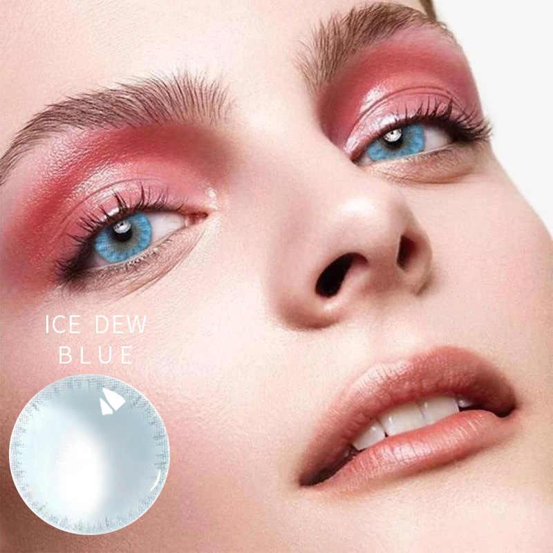 Stopień 0-800 krótkowzroczność oko kolorowe szkła soczewki kontaktowe kobieta piękna ścieżka źrenicy 14.5mm Party Cute Cartoon Girl Cosplay Eyes Wear