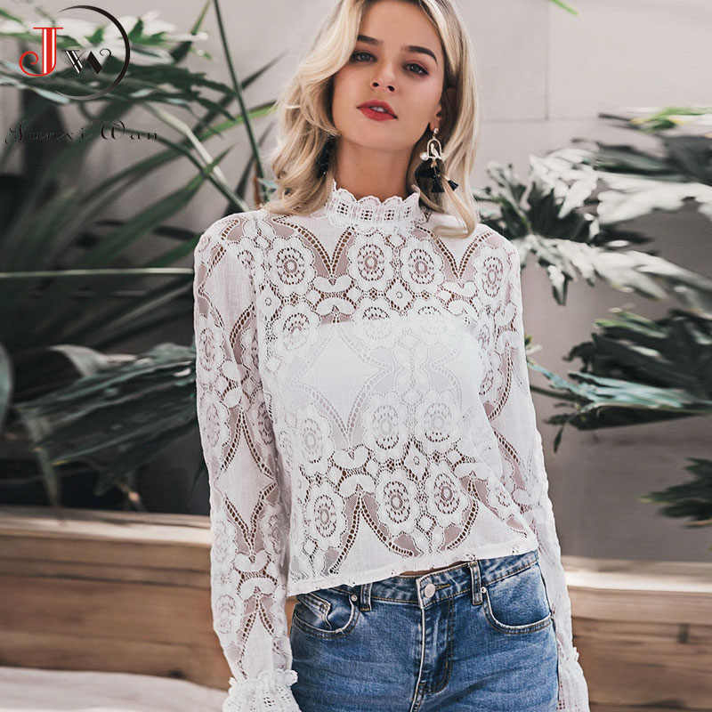 Vrouwen Wit Kant Blouse Shirt Sexy Borduren Lantaarn Mouw Zomer Tops Elegante Dames Office Wear Blusa Feminina Plus Size