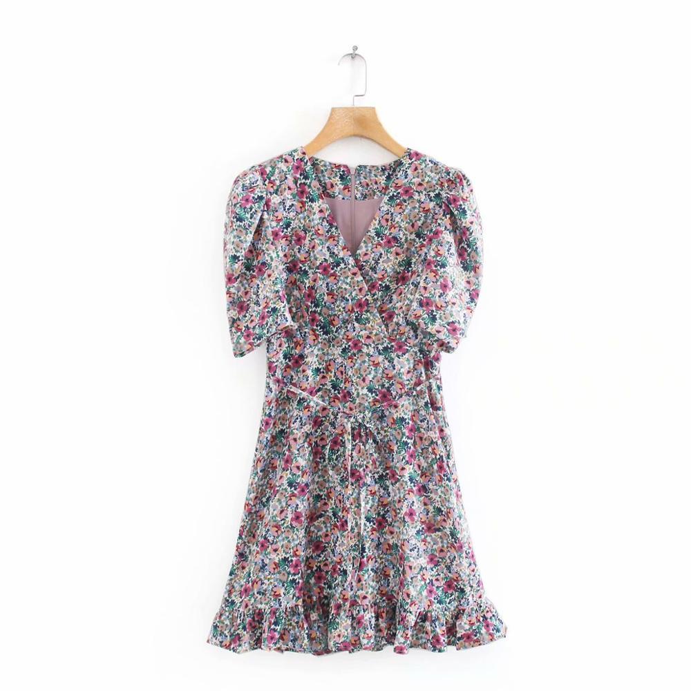New 2020 women vintage v neck floral print hem ruffles mini dress chic female puff sleeve bow vestido casual slim dresses DS3700