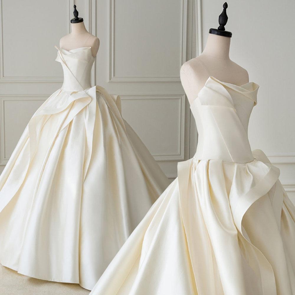 Лучшая Франция Атласное Бальное Платье Свадебное Платье со складками Aliexpress Логин Suknia Slubna Простые Свадебные платья размера плюс Sukienki