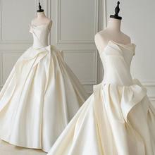 最高のフランスサテン夜会服のウェディングドレスプリーツsuknia slubnaシンプルなブライダルドレスプラスサイズsukienki
