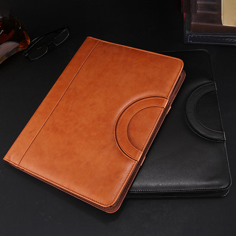 A4 Multifunctional Folder PU Leather Zipper Bag for Notebook Business Travel OUJ99