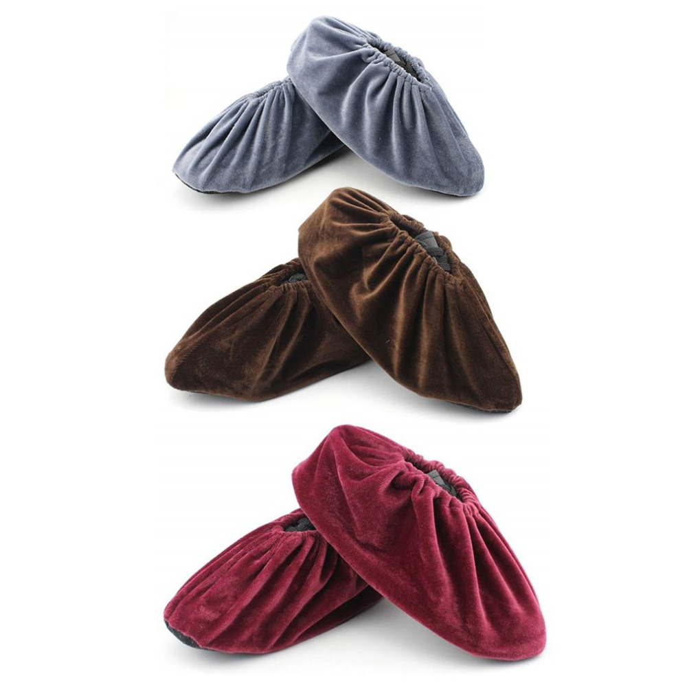 1 Pair Shoes Covers Anti-slip Indoor Cotton Velvet Shoes Cover Adjustable Washable Overshoes Portable Shoes Dust Covers