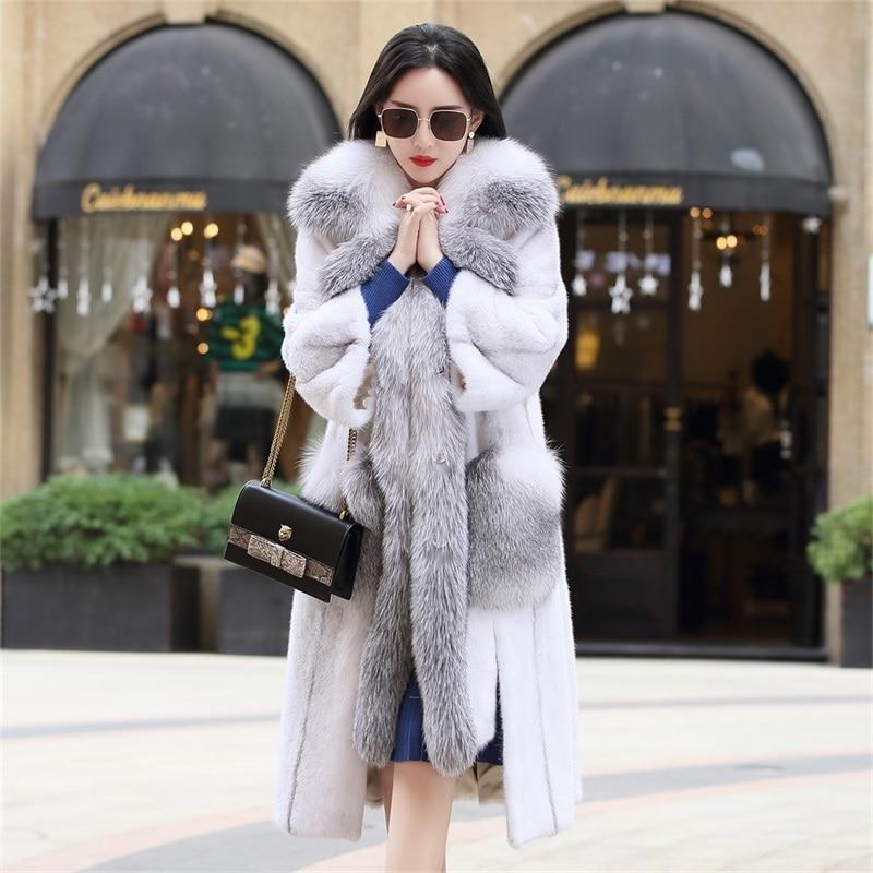 2020 New Women's Real Mink Fur Coat Long Winter Jacket Fox Fur Collar Fashion Luxury Natural Fur Coats And Jackets Women LL1908