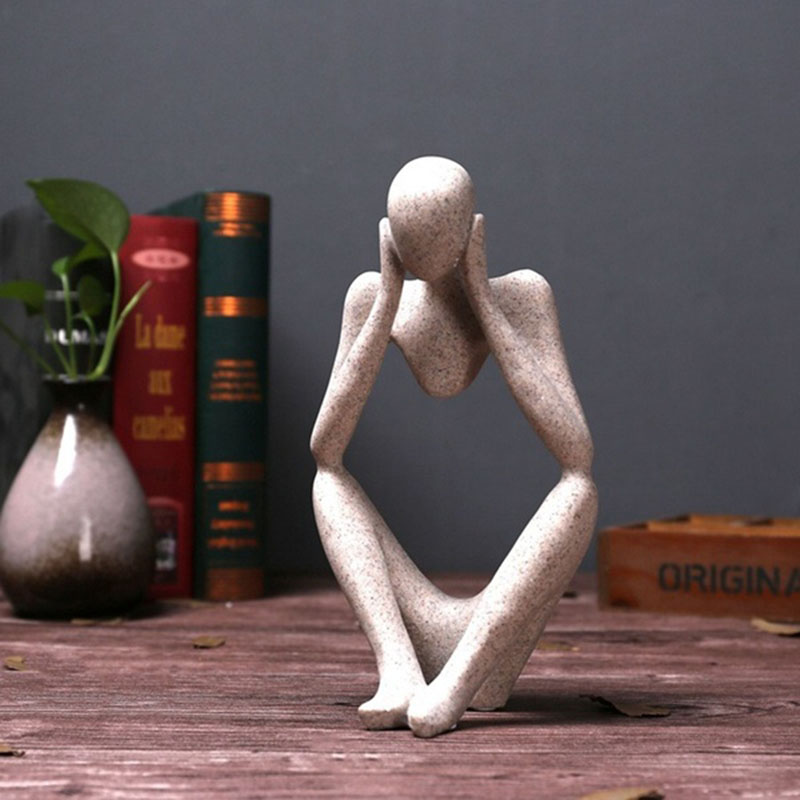 Free shipping Nordic creative home decorations living room room office sandstone abstract figure decorative ornaments in Statues Sculptures from Home Garden