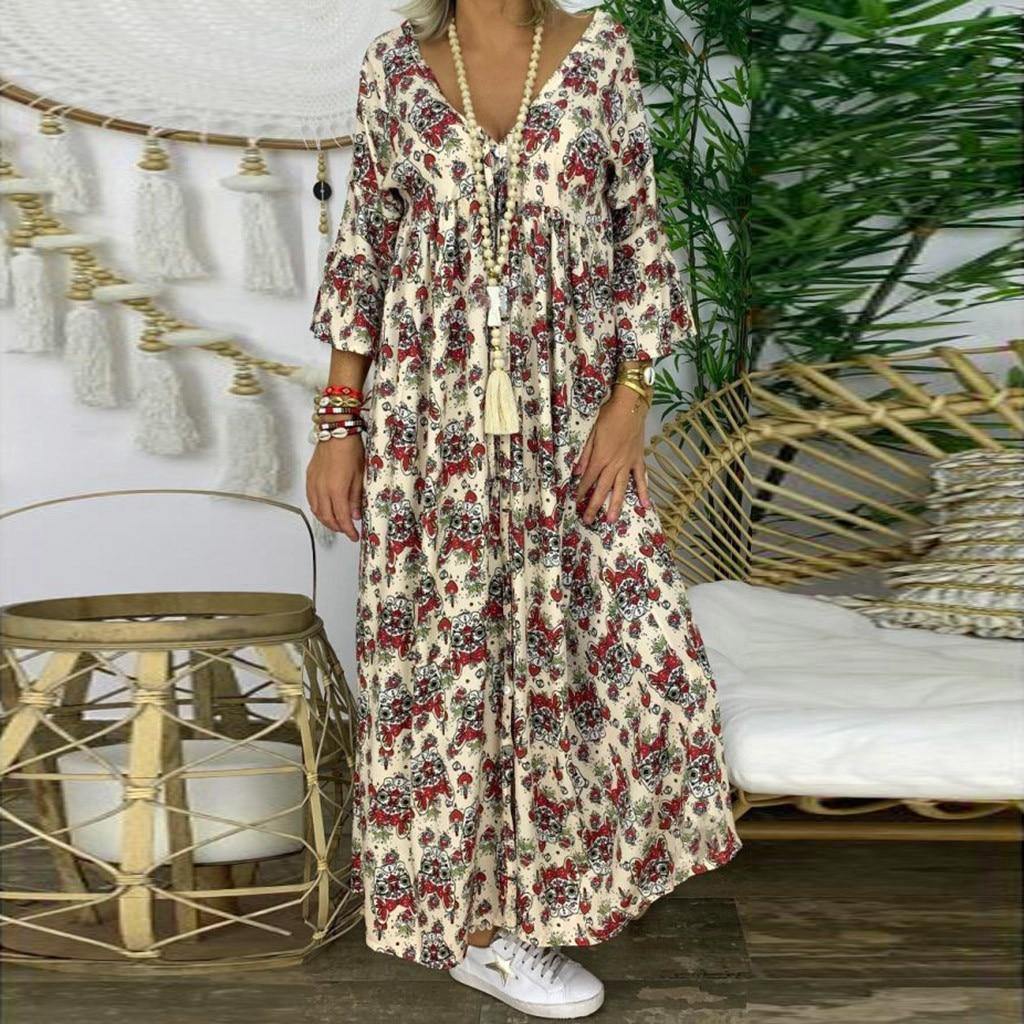 US $14.14 14% OFFHerbst Boho Gedruckt Kleid Frauen Lose V ausschnitt Plus  Größe Langarm Maxi Kleider Vintage Party Lange Kleid Vestidos S 14XL