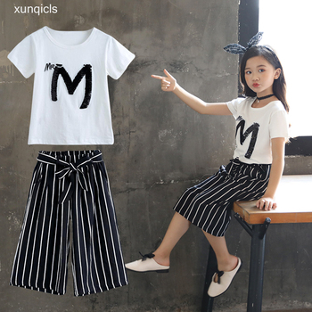 2019 New Girls Clothing Sets Summer Children Sequin T-shirt Short Sleeve +pants Set Kids Outwear Baby Girls Clothes