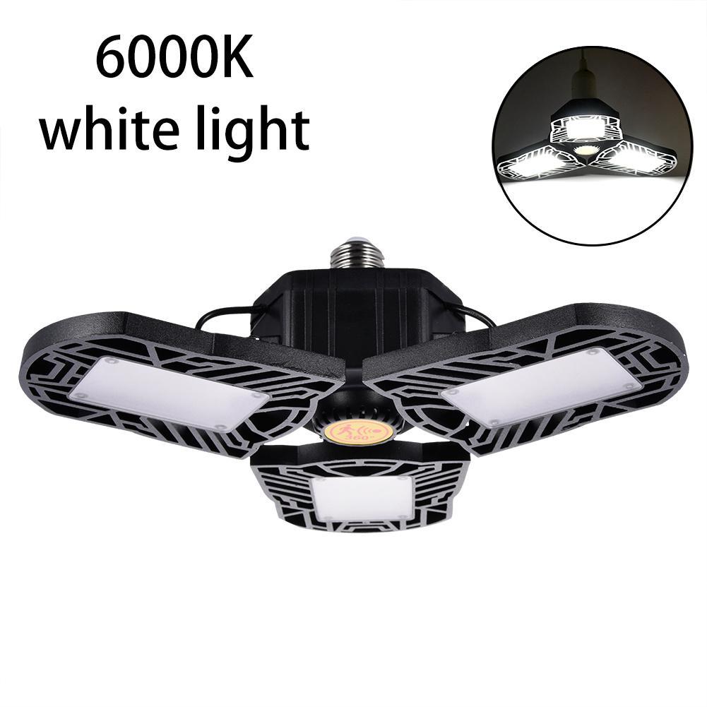 New 80W 8000LM Motion Activated Light LED Adjustable Three Light Garage Lamp High Bay Light UFO Workshop Parking Warehouse Lamp