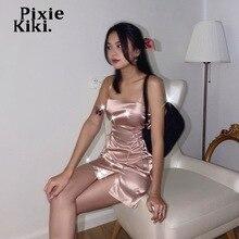 PixieKiki Y2k мягкая девочка Стиль летнее платье 2021 розовые повязки на голову с синими атласными со шнуровкой сбоку Разделение Мини-платья сексуа...