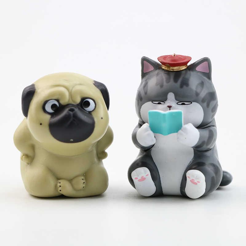 5/8 個/セットかわいい皇帝ミニ猫犬アクションフィギュア玩具怠惰な猫パグ犬動物アクション人形フィギュアコレクション子供誕生日ギフト