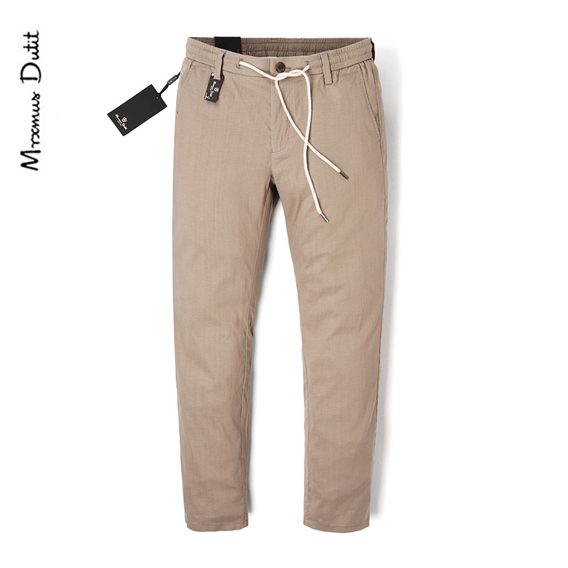 MEN'S Casual Pants Summer Thin Section Cotton Linen Breathable Elastic Band Trousers Middle-aged Men Straight Slim Trousers