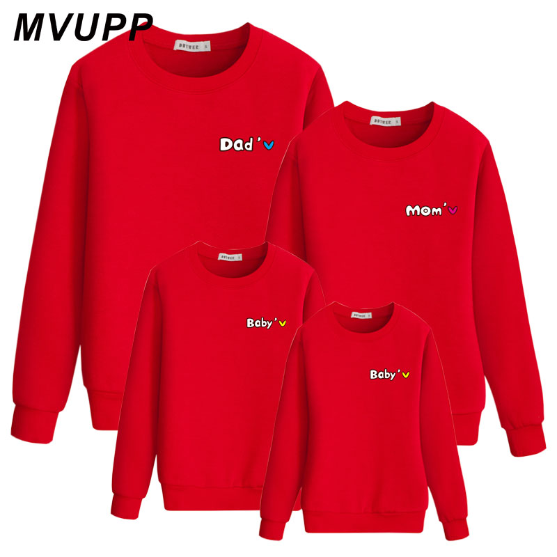 MVUPP Family Sweatshirt For Mother Daughter Father Son Tops Matching Clothes Mommy And Me T Shirt Family Look Heart Fashion Mom