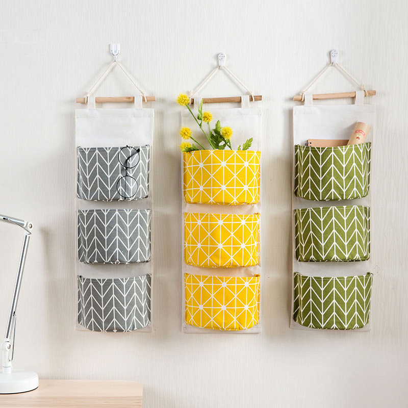 Wall Mounted Wardrobe Organizer Hang Bag Wall Pouch Cosmetic Closet Toys Storage  Cotton Linen Hanging LU11261614