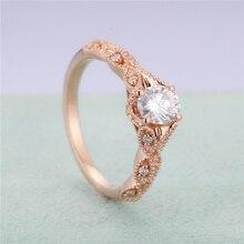 Stamp 14k Rose Gold Zircon Engagement Diamond Ring for Women Luxury Anillos Wedding Jewelry Bizuteria Fine Topaz Gemstone