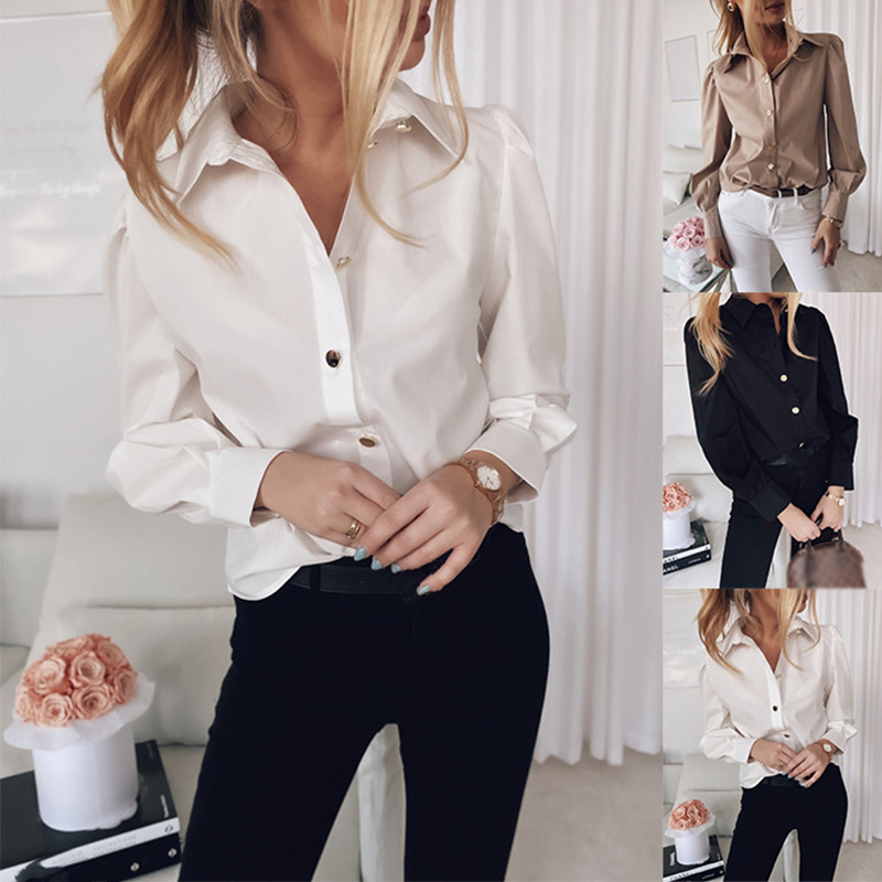 Women Top AND Shirts Long Lantern Sleeve Turn-down Collar White Shirt Woman 2020 Spring Summer Button Office Lady Clothes Female