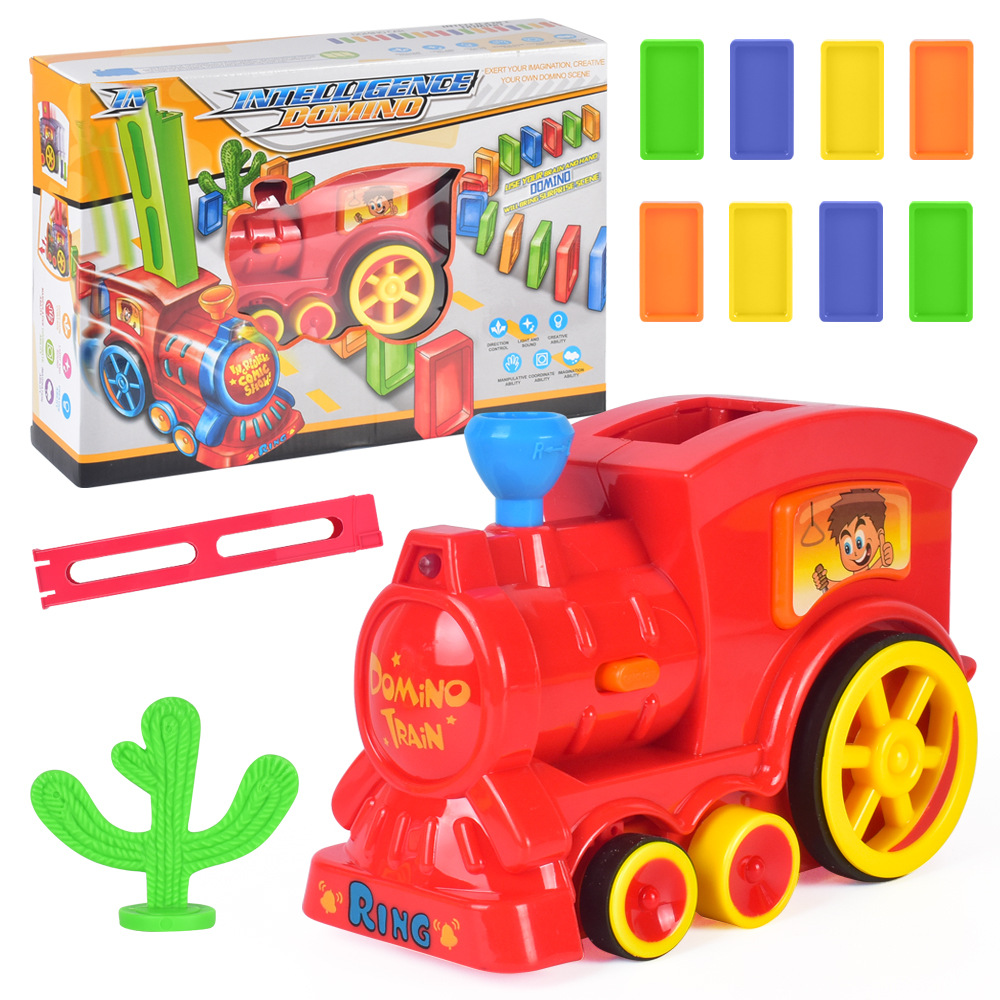 Автоматический домино для укладки кирпича игрушечный поезд автомобиль со звуковым светом лифт пружинный мост катапульта набор домино подарок для детей - Цвет: trainwith60pcsblocks