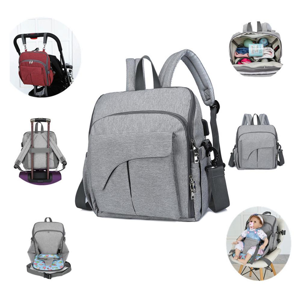 Multifunctional Mom Backpack Diaper Portable Changing Baby Chair Fixing Function Bag Handbag