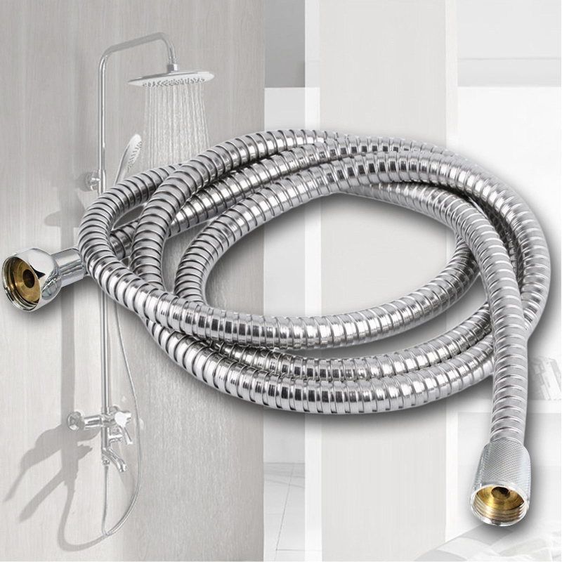 New Shower Hose 1.5M 2M 3M Stainless Steel Plumbing Flexible Bathroom Bath Shower Tube Head Silicone Hose Water Pipe Washers