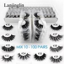 Atacado 3d vison cílios postiços 10/20/30/40/50/100 pares macio wispy falso cílios naturais longa extensão do chicote de maquiagem no volume