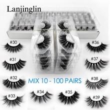 Toptan 3d vizon yanlış eyelashes 10/20/30/40/50/100 çift kabarık wispy takma kirpik doğal uzun makyaj kirpik uzatma toplu