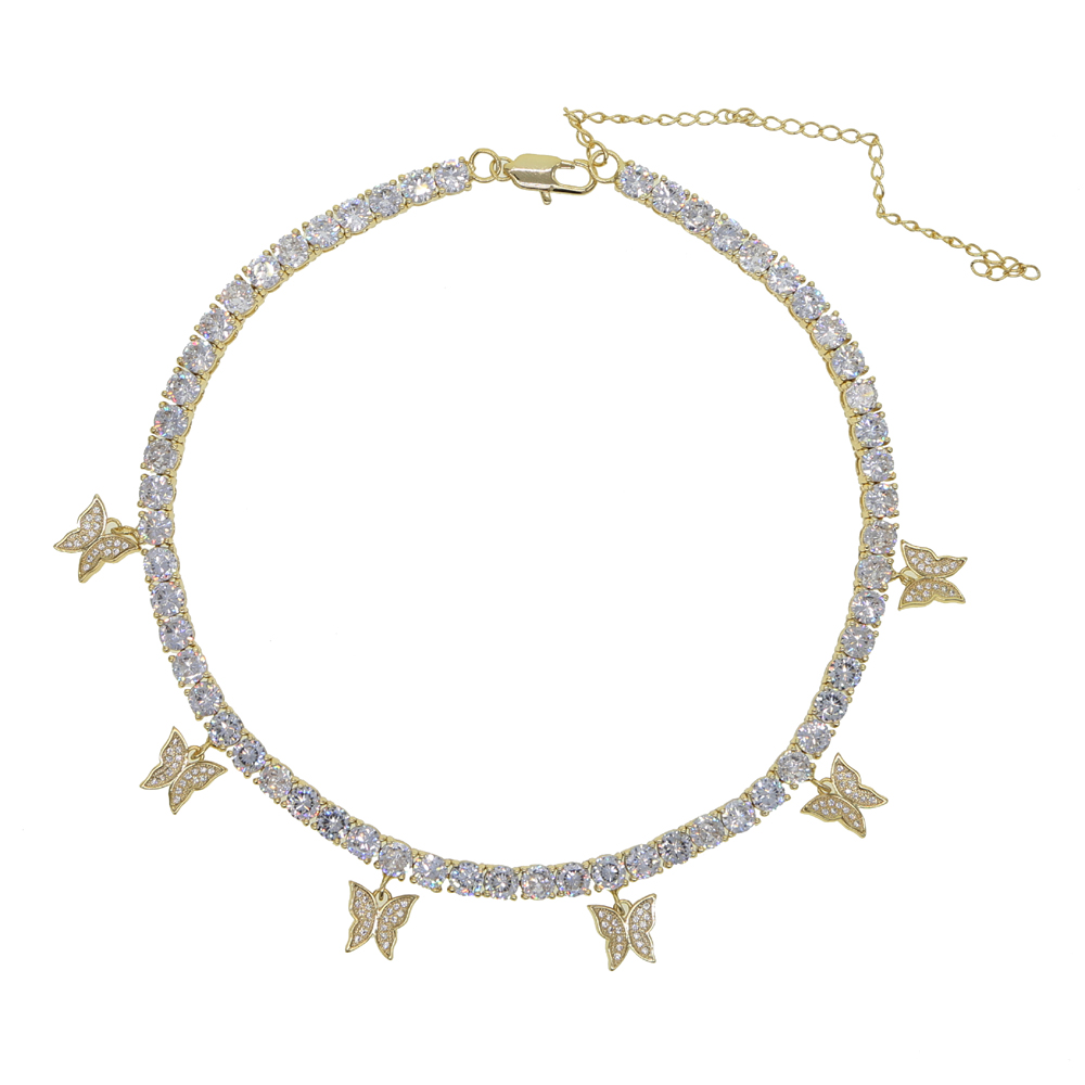 Image 5 - iced out bling hip hop women jewelry Heart arrow cz tennis chain  with cz butterfly charm 32 10cm choker necklacesChoker Necklaces   -