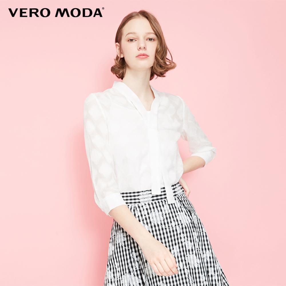 Vero Moda Women's Lace-up Round Neckline 3/4 Sleeves Shirt   319231523