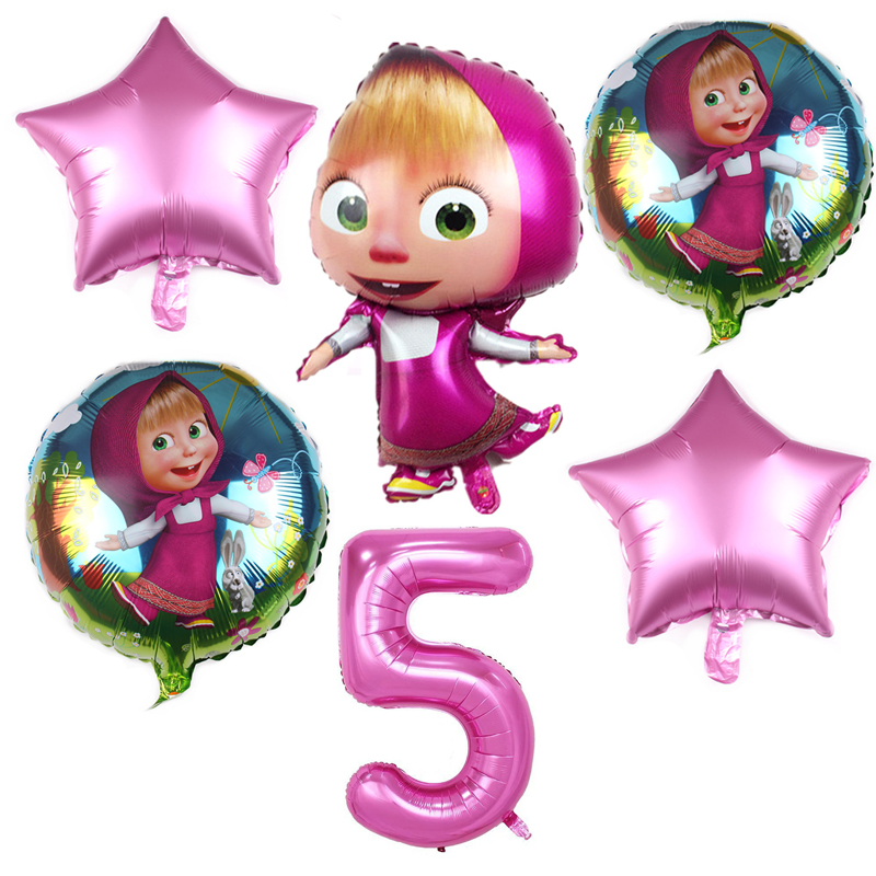 6 pçs masha e urso tema dos desenhos animados 32 polegada rosa número folha balões festa de aniversário decorações suprimentos balões de hélio fornecimento