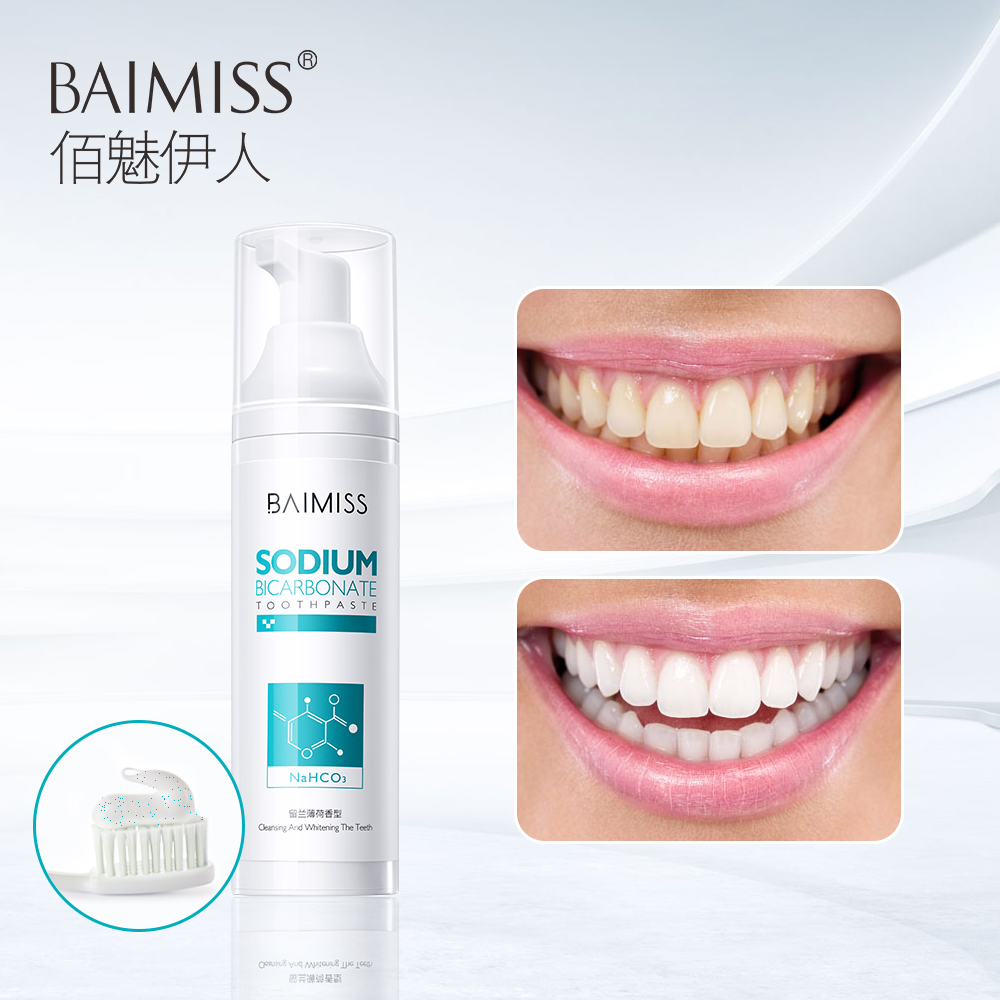 BAIMISS Teeth Whitening Toothpaste Dental Tools Tooth Paste Oral Hygiene Dentist White Teeth Cream Remove Stains Sodium 100g