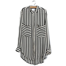 цены на Formal blouses Long Sleeve Button Down Women's Shirt Vertical Striped Chiffon Pocket Career Tops NS в интернет-магазинах