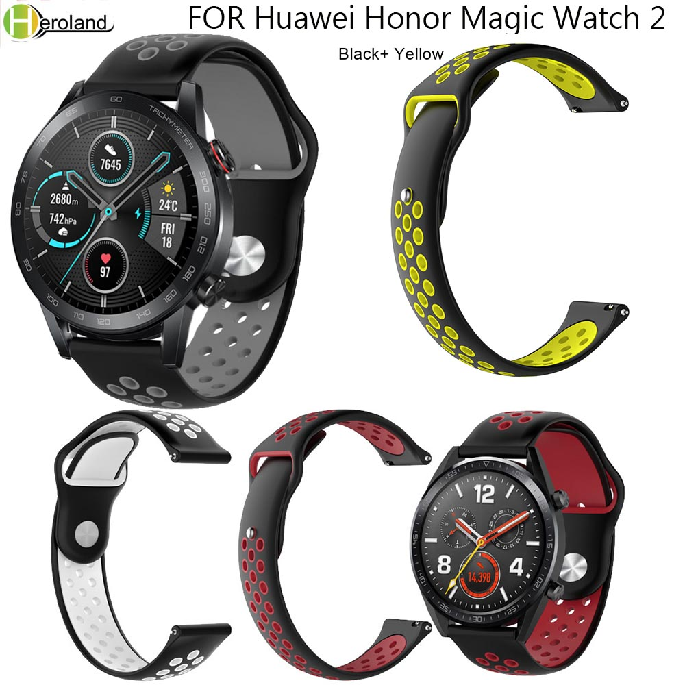 22MM Silicone Watchstrap Band For Huawei Honor Magic Watch 2 Sport WatchBands For Huami Amazfit Stratos 3 Smartwatch Accessories