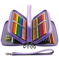72 구멍 연필 케이스 학교 staionery 키트 소녀 소년 연필 케이스 큰 pu 가죽 펜 상자 대형 카트리지 보관 가방 용품