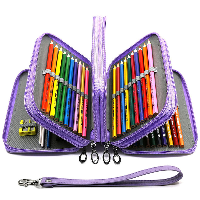 72 Holes Pencil Case for School Staionery Kit Girls Boys Pencilcase Big PU Leather Pen Box Large Cartridge Storage Bag Supplies|Pencil Cases| |  - title=