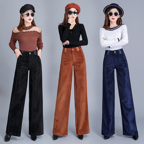 Fashion Autumn Loose Gold Velvet Wide Leg Pants Casual Brief Korean Pants Women Zip High Waist Vintage Trousers