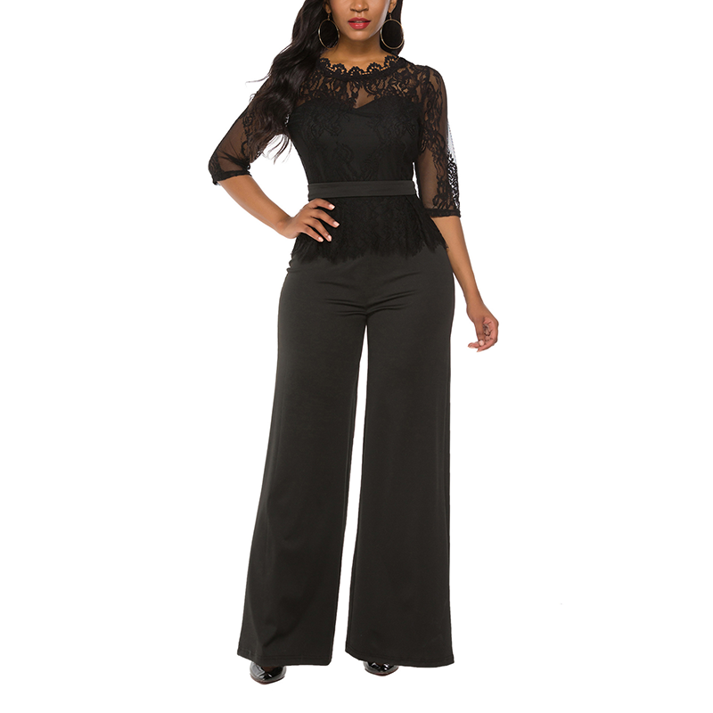 Women's Half  Sleeve Wide Legs Hollow Out Jumpsuit Rompers Lace Long Jumpsuit Solid Women Sexy Jumpsuit